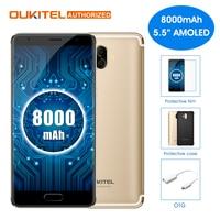 Oukitel K8000 Android 7.0 5.5 pulgadas teléfono móvil MTK6750T octa Core 4 GB RAM 64 GB ROM 8000 mAh 13.0MP + 16.0MP cámaras traseras teléfono móvil