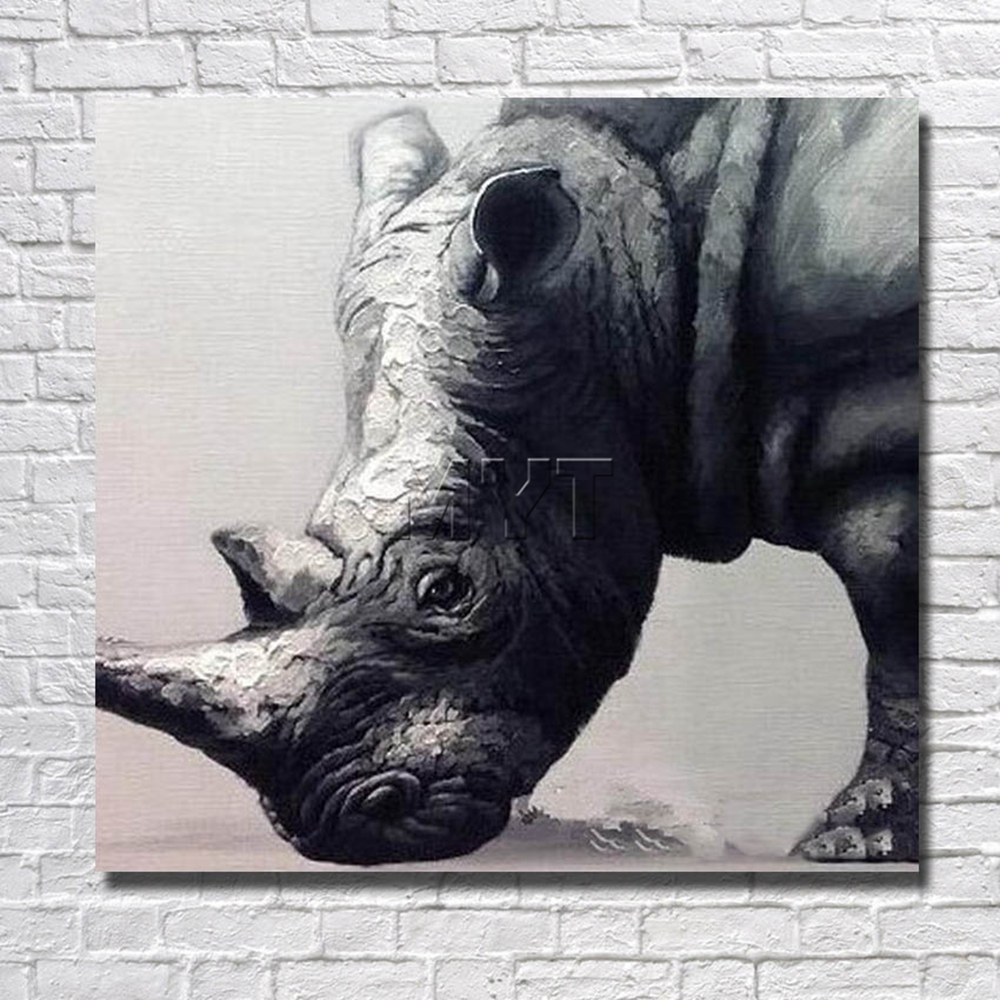 Rinoceronte pintura china pared arte pintura al óleo decoración ...