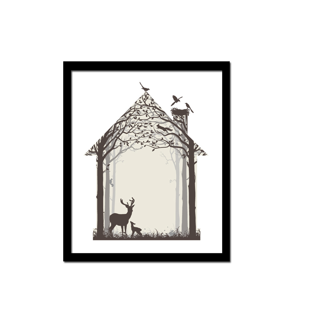 reindeer family art print poster fine art painting home wall decor without framechina
