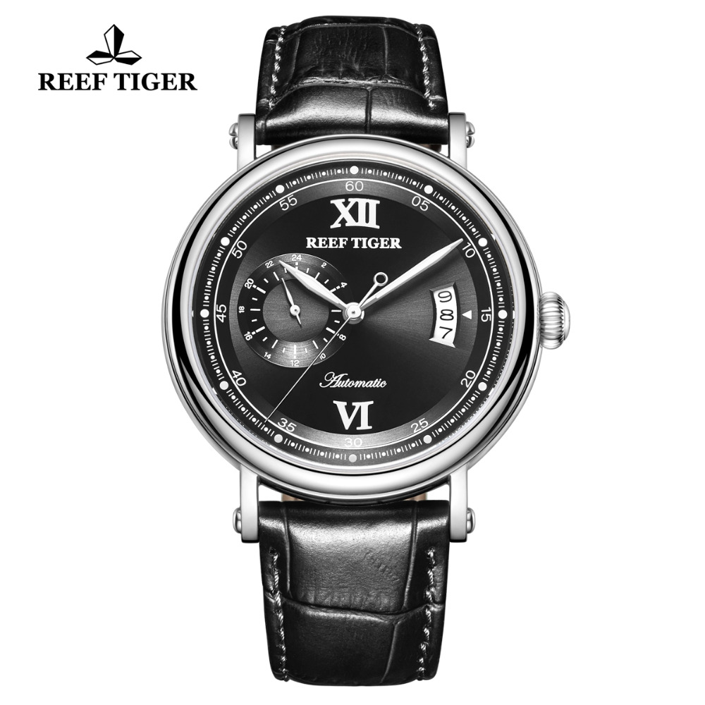 Reef Tiger/RT Top Brand Luxury Automatic Watches Men Genuine Leather Strap Big Date 24 Hour Miyota Mechanical Watch RGA1617-2Reef Tiger/RT Top Brand Luxury Automatic Watches Men Genuine Leather Strap Big Date 24 Hour Miyota Mechanical Watch RGA1617-2