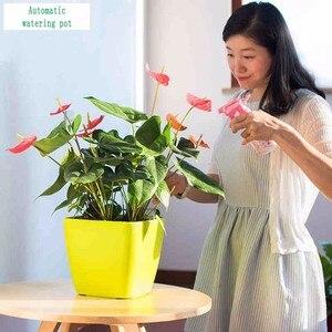 Image 3 - Creatieve Automatische Wateropname bloempot voor Desktop Indoor Kantoor decoratie Grote Plastic Lui bloempot Hydrocultuur