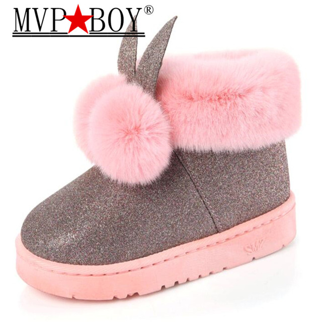 MVP BOY Winter New Women s boots female Venonat rabbit ear lovely boots  waterproof and velvet with thick warm cotton shoes 47a01d56605f