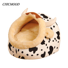 Hot Milk Cow Design Dog House Pet Puppy Bed Leopard Print Cat Sofa Dot Animal Home