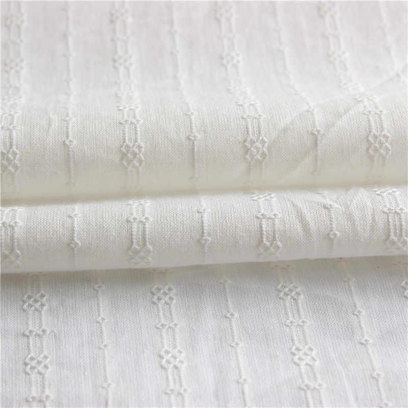 100% コットンレース白綿生地人気幾何波デザイン中空アウト刺繍デザインのレースの生地純粋な白
