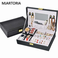 MJARTORIA 2017 New Fashion Jewelry Display Box Carrying Case Cover Jewelry Earring Display Box Tray Holder