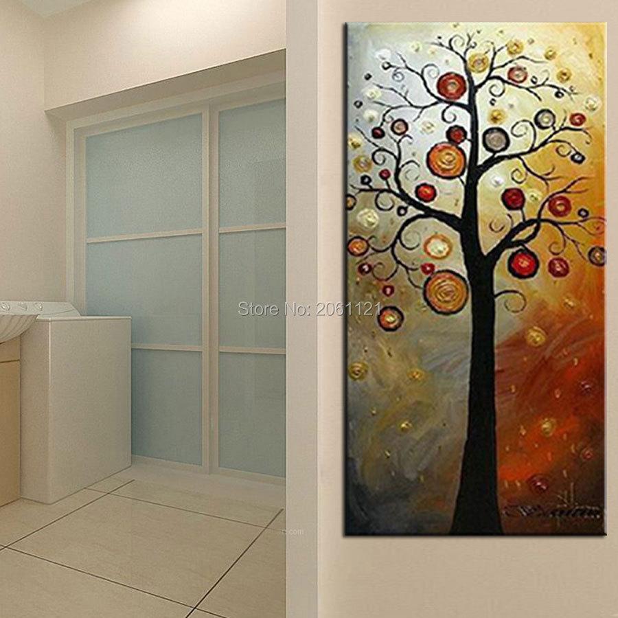 Tangan dicat lukisan minyak di atas kanvas pohon kehidupan abu-abu - Dekorasi rumah - Foto 4