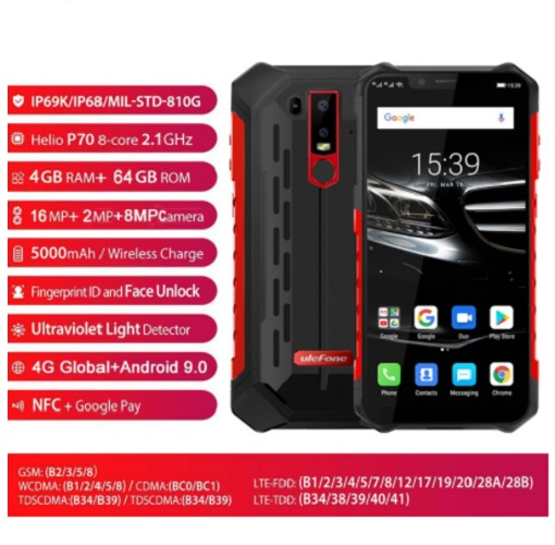 Global 4G VoLTE Ulefone Armor 6E Rugged Mobile Phones 5000mAh 6 2 64GB Waterproof Android 9
