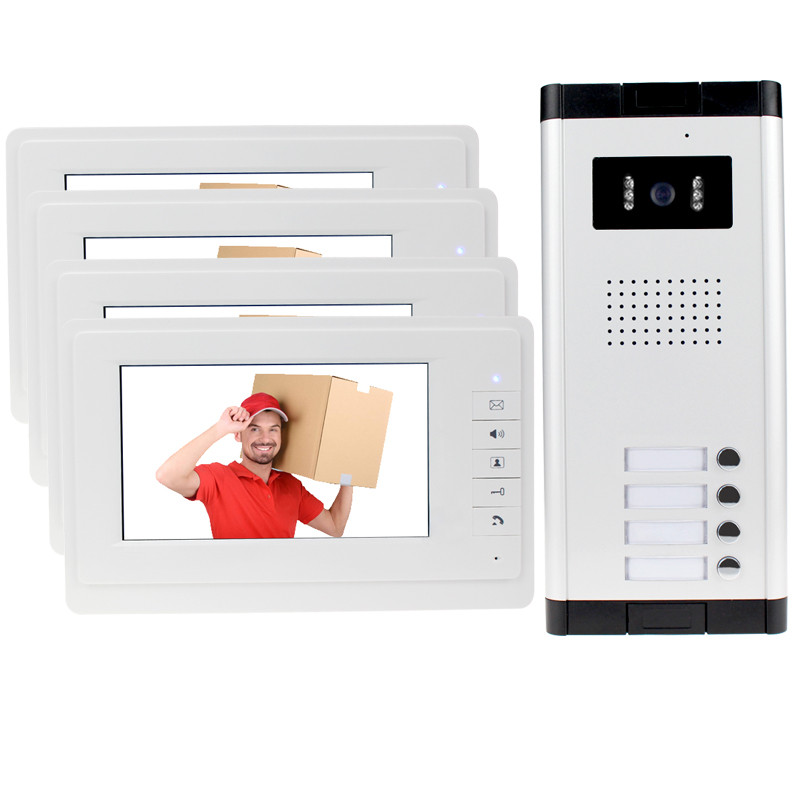 New brand 7'' color video door phone 4 monitors with 1 intercom doorbell can control 4 houses for multi apartment Free shipping