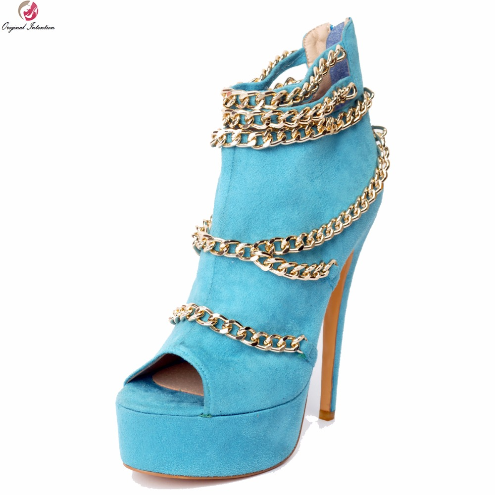 Original Intention Fashion Women Sandals Stylish Chain Peep Toe Thin High Heels Sandals Nice Blue Shoes Woman Plus US Size 4-15 dark blue belted peep toe fashion booties