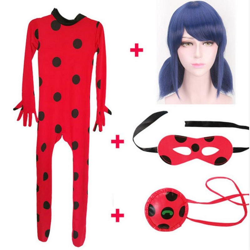 Lady Cospaly Bug Costume Clothing Sets Kids Adult Girls Halloween Party Cosplay Marinette Little Beetle Suit  Jumpsuit