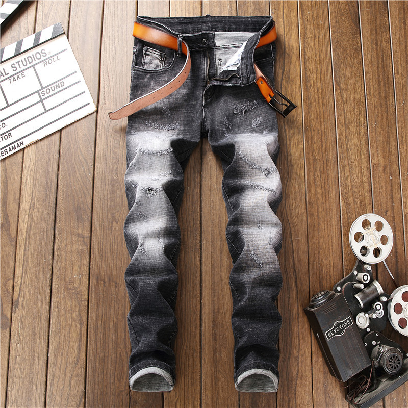 European American Style Wash Patch Beggar Spliced Jeans straight stripe black Jeans Mens Straight jeans Trousers