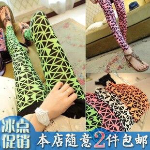 2013 spring super girl neon color graphic geometric patterns fancy personalized vintage design 4 long legging