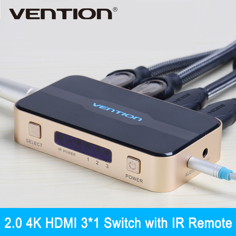 Vention Mini 3 Input 1 Output 2.0 4K HDMI Switch Switcher HDMI Splitter HDMI Port for PS3 PS4 for Xbox 360 PC DV DVD HDTV 1080P