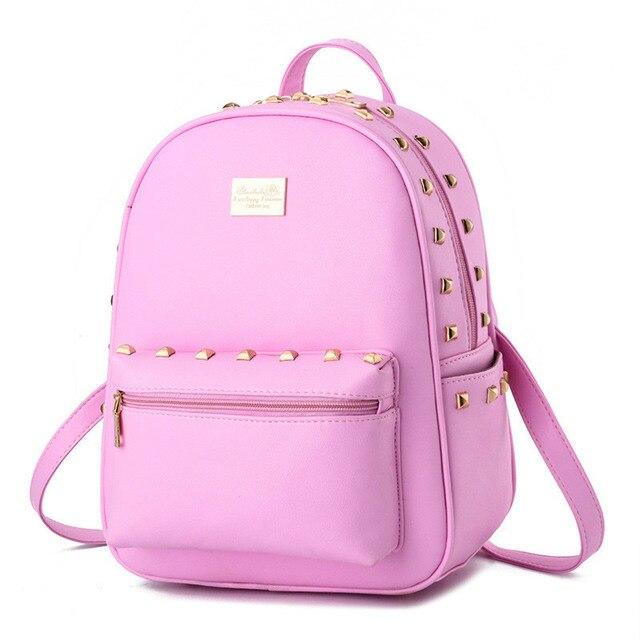 2016 Fashion Women Waterproof PU Leather Rivet Backpack Girls School Bags Women's Backpacks for Teenage Girls Black Bags BB13