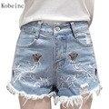 2017 Primavera Verão Calça Jeans Feminina Bermuda Jeans Bordado Plus Size Roupa Das Senhoras de Moda de Algodão Shorts de Cintura Alta Calças Curtas