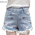 2017 Spring Summer Jeans Female Embroidery Denim Shorts Plus Size Ladies Clothes Fashion Cotton Shorts High Waist Short Pants