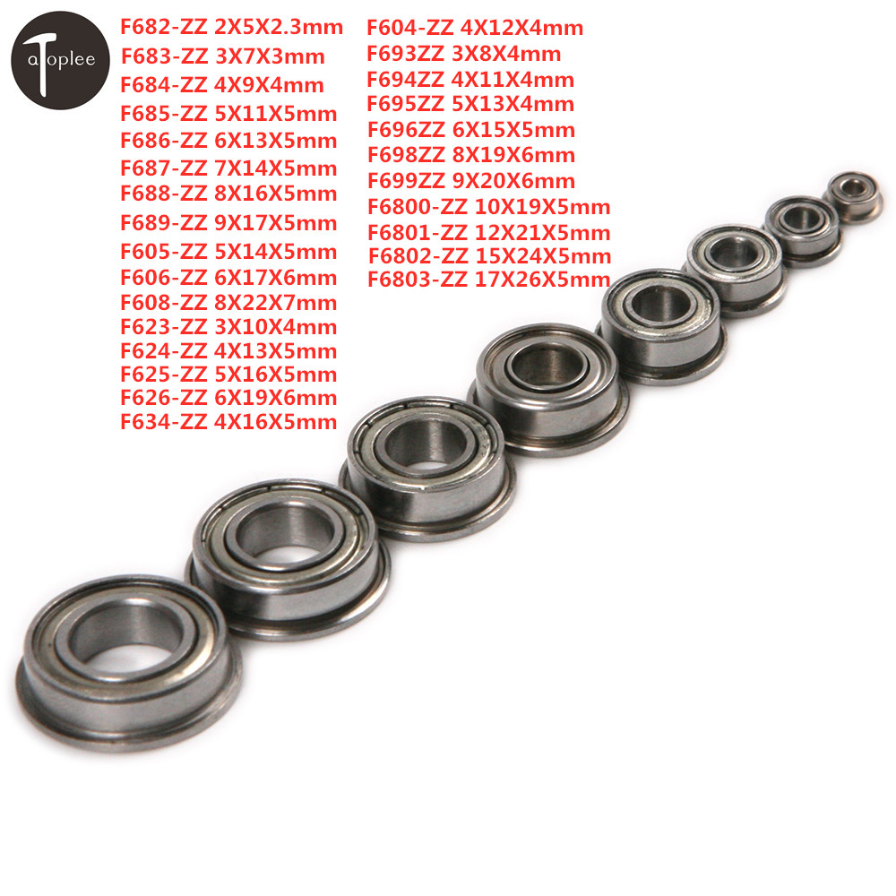 Hot 1pc Bearing Steel Flange Ball Bearing 2/3/4/5/6/7/8/9/10/12/15/17mm Mini Metal Shielded Miniature Flanged Ball Bearings