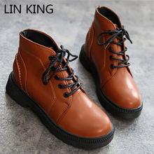 LIN KING  Square Heel Fashion Women Boots Lace Up Solid Short Shoes Low Heel Thick Sole Ankle Boots Casual Work Safety Boots