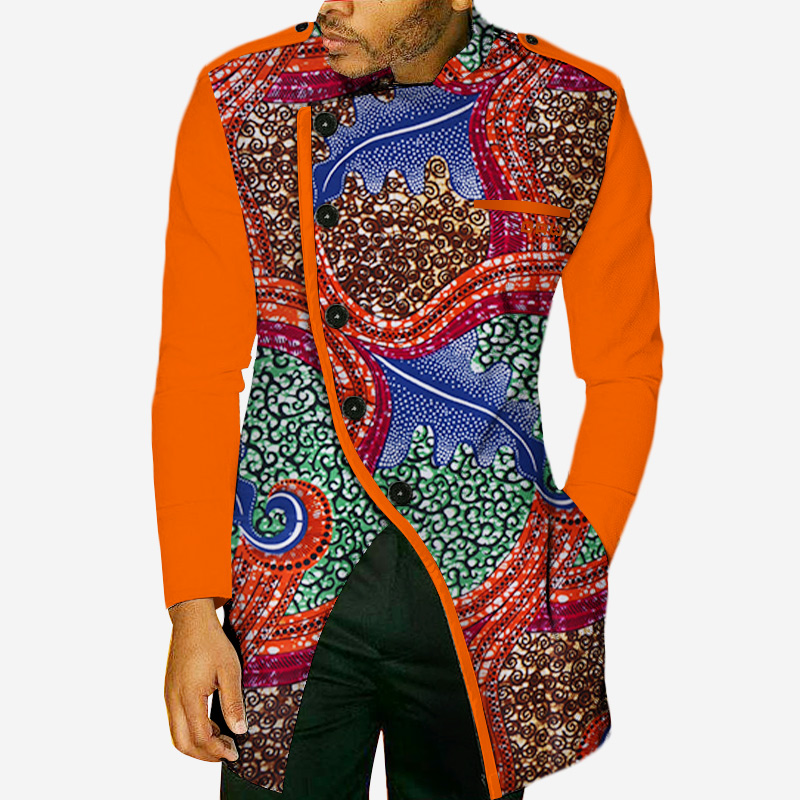 Fashion Autumn African Wax Print Long Sleeve Top Shirts For Men Bazin Riche Mens Shirts Dashiki African Style Clothing WYN49