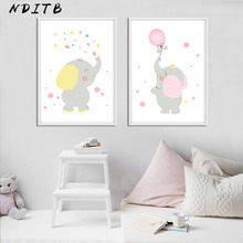 NDITB Cartoon Elephant Balloon Wall Art Canvas Posters Nursery Prints Painting Nordic Kids Decoration Picture Baby Bedroom Decor