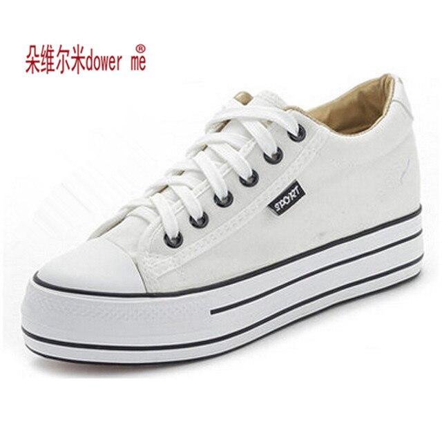 Mujer zapatos de Plataforma Alta Zapatos de Lona atan para arriba Casual Pisos Mujer Zapatos blancos 169