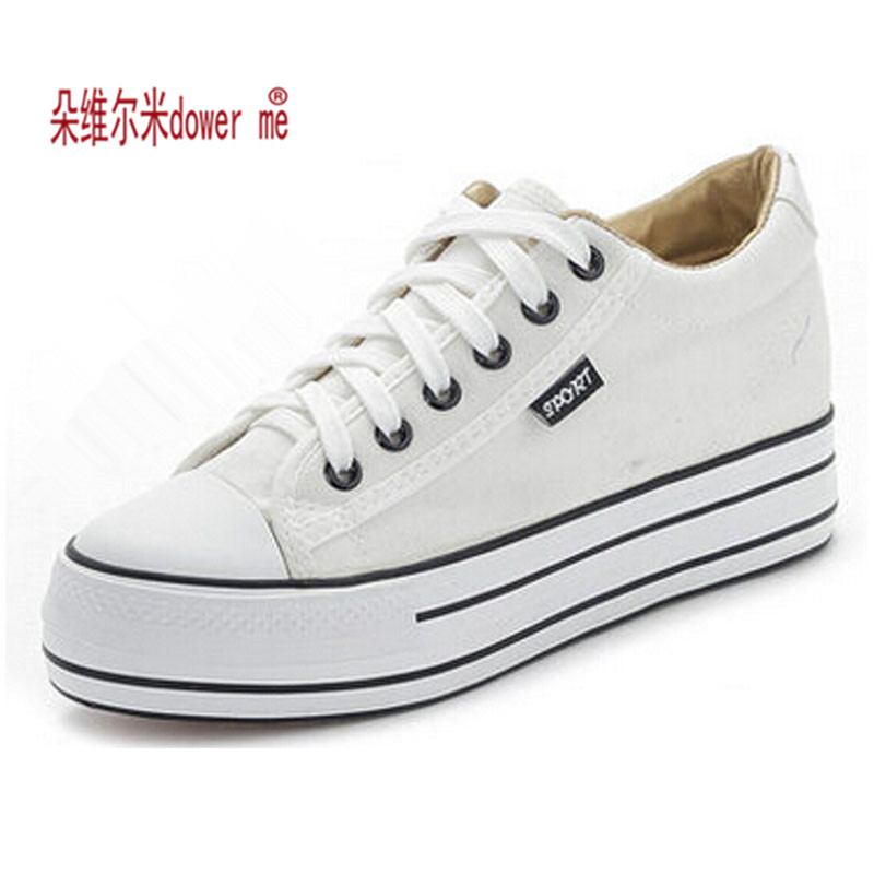 49dc1e8e9 Shoes Woman High Platform Canvas Shoes lace up Casual Flats white Shoes  Woman 169-in Women's Vulcanize Shoes from Shoes