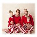 Mãe e filha conjuntos de pijama Combinando natal pijama família correspondência roupas brancas de algodão vermelho família pijama natal