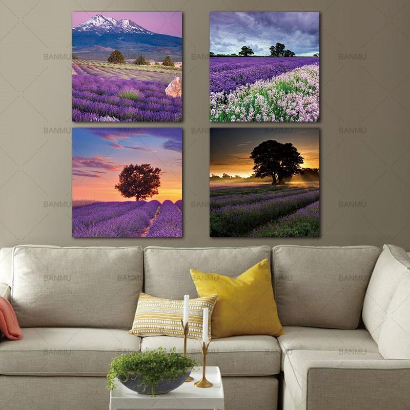 Buy 4 pieces cavas painting decor for home lavender landscape paintings purple - Decor art quadri bari ...