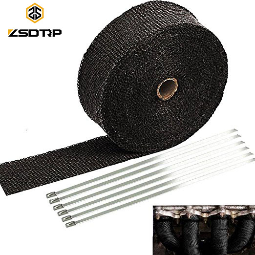 ZSDTRP 25mm*5/10/15M Titanium Exhaust Heat Wrap Roll for Motorcycle Fiberglass Heat Shield Tape with Stainless Ties(China)