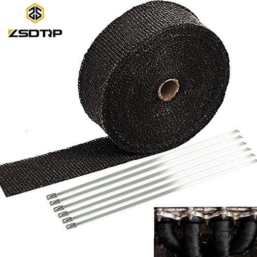 Rollo de envoltura de calor de escape de titanio ZSDTRP 5/10/15 M para cinta protectora de calor de fibra de vidrio de motocicleta con corbatas inoxidable