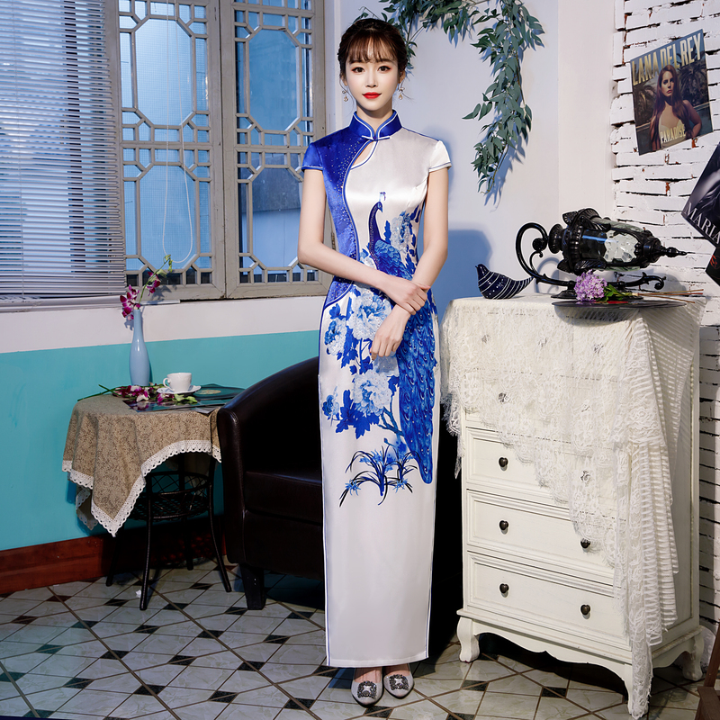 S-4XL femmes Long Cheongsam Vintage style chinois robe 2019 mode rayonne Qipao Slim robes de soirée bouton Vestido grande taille