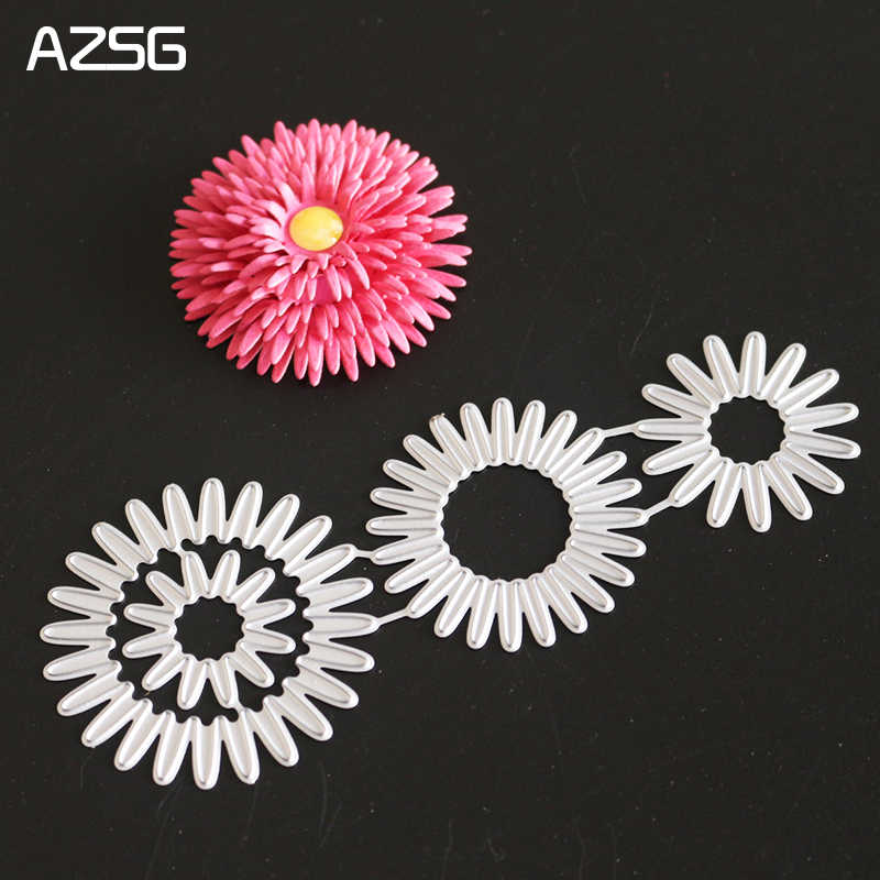 AZSG Chrysanthemum Metal Cutting Dies for Scrapbooking Photo Album Embossing DIY Paper Cards Making Decorative Stencil Craft