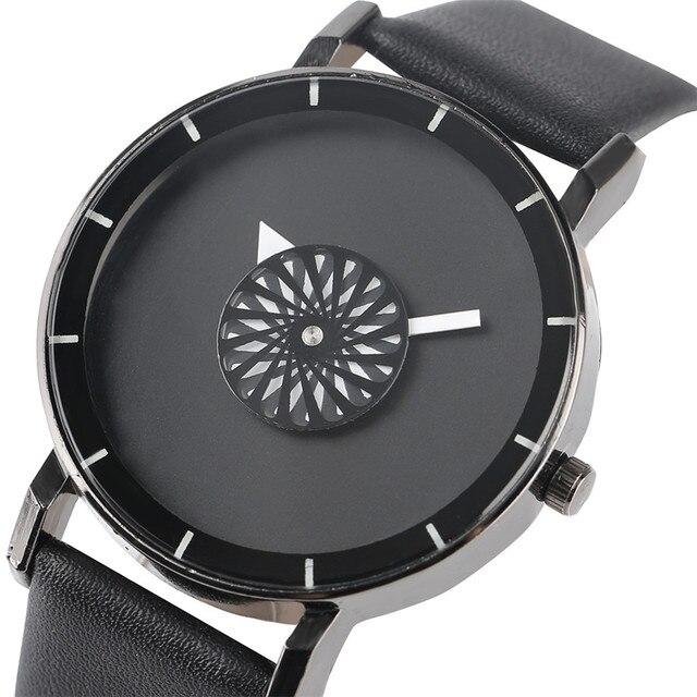 09bfc6a51201 Negro reloj de los hombres de cuarzo tocadiscos Dial redondo Simple correa  de cuero minimalista moda