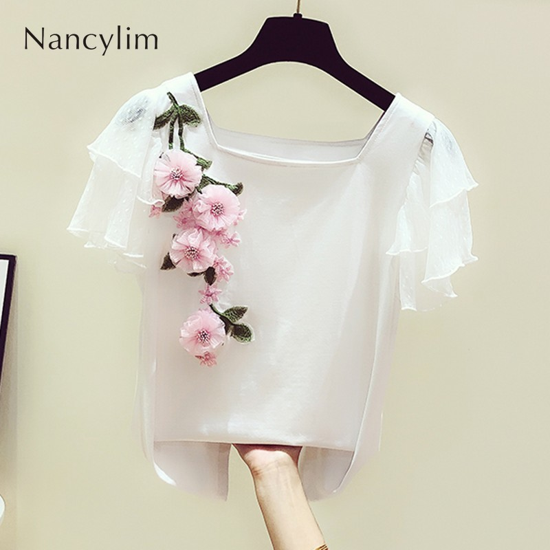 T Shirt Girl Summer New Korean Sweet Lace Lotus Leaf Sleeves Three-dimensional Flowers Embroidery Square Collar T-shirt Women's