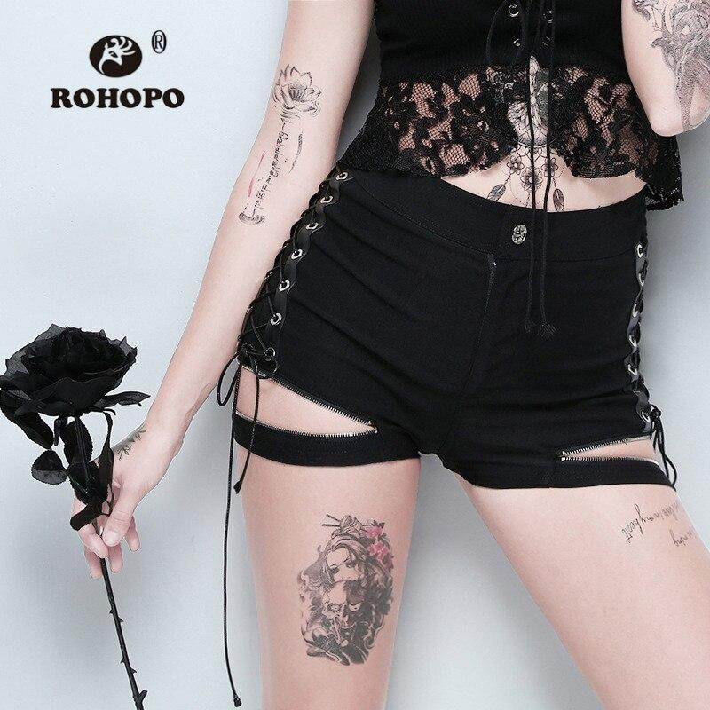 ROHOPO Street Girl Bandage Hot   Shorts   Gothic Female Side Band Leg Zipper Vintage Straight   Shorts   Woman Dark Black Punk   Shorts