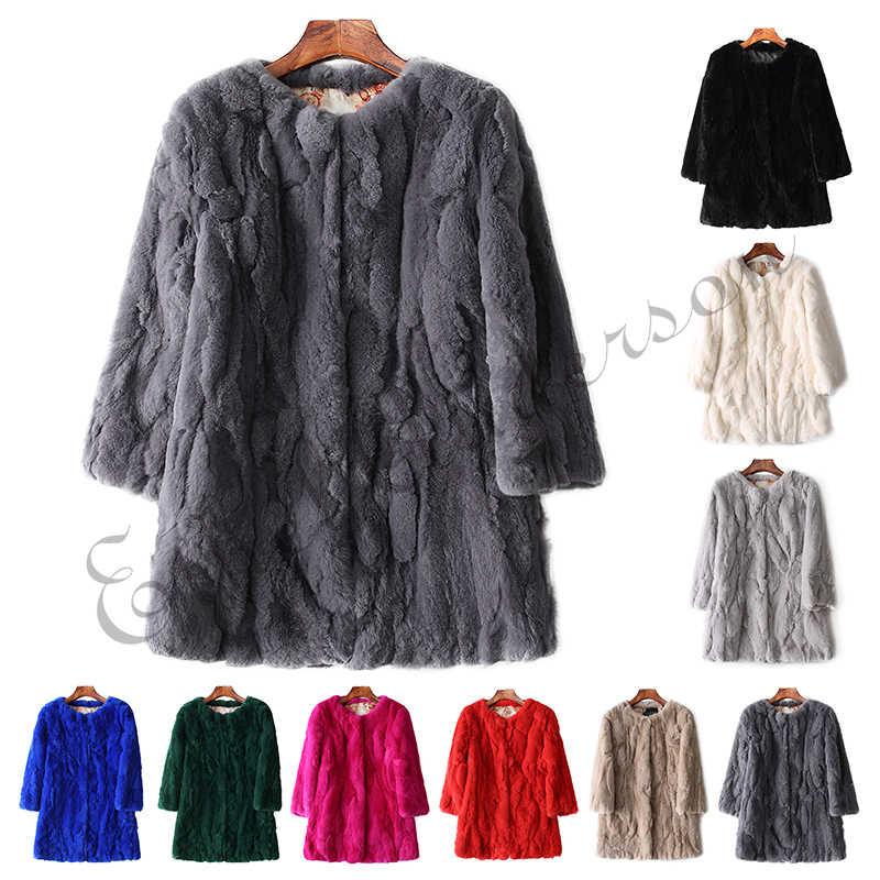 Doğal Wholeskin kürk ceket o-boyun moda ince Rex tavşan kürk ceket hakiki tam Pelt kürk ceket kadın tasarım tavşan kürk ceket