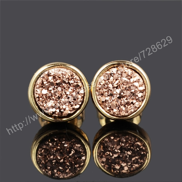5d36cc977 BOROSA 5Pairs/lot 8mm Round Natural Crystal Druzy Stud Earrings Rose Gold  Druzy Stone Earrings for Women gift for her G0198-5