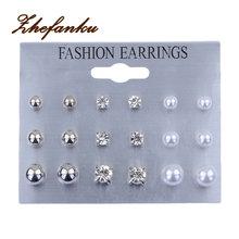 9pairs/set Fashion Imitation Pearl Rhinestone Stud Earrings Sets Classic Style Earring Stud Earring Set