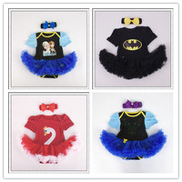 &E-babe&Wholesale Baby Girls Rompers Dress With Headband 2pc set Infant Cotton Summer Short Sleeve Cartoon Jumpsuits 626