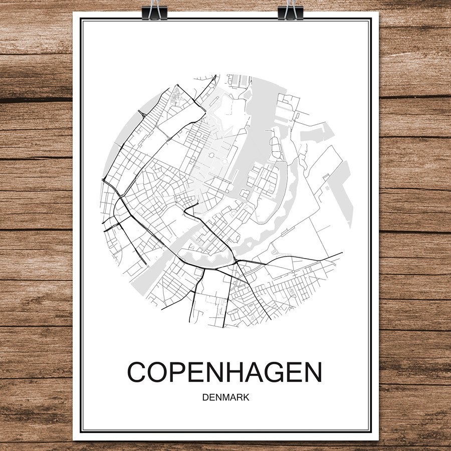 COPENHAGEN Denmark Famous World City Street Map Print Poster Abstract Coated Paper Cafe Living Room Home Decoration Wall Sticker