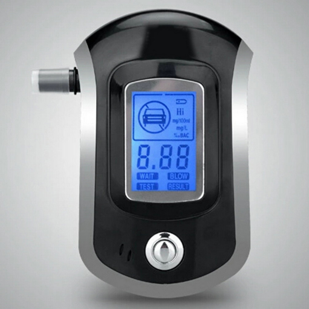 2017 100% guaranteed New digital alcohol tester Patent AT-818 update version with 5 mouthpieces hide in car styling hot 100% brand new abs material black color digital keychain breathalyzer fit alcohol tester with red backlight pft68s