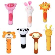 Купить с кэшбэком Cute Animals Plush Toy Baby Bibi Bar BB Squeaker Baby Handbell Rattles Mobiles Colorful Baby Toys