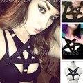 Pentagrama Goth Harness Inspirado Bondage Bralette Caged Top Colheita Moldura Preta Elasticidade Sexy Garter Cintos Fetiche Engraçado sutiã Exótico