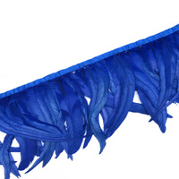 Wholesale 30 35CM Royal blue chicken feather trim cloth side Coque feather trim with DIY dress skirt decoration accessories