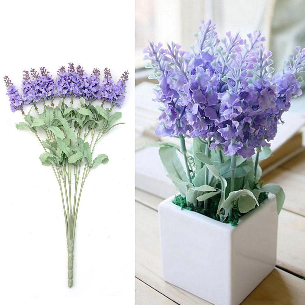 A bouquet 10 Head Artificial Lavender Silk Flowers Bouquet Home ...