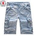 2016 Novos Calções dos homens Shorts Casual Camuflagem shorts Da Carga Tamanho Europa Fshion Lavagem Multi-Bolso Homens Bermuda Curta Masculina