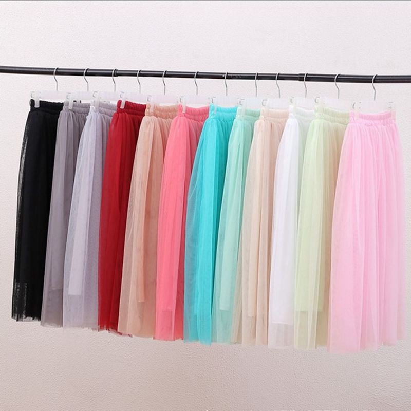 New Summer Women Skirt Mesh Sexy multi-layer gauze pettiskirt  casual cute long skirt women 80cm faldas shein