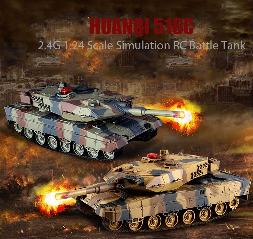 2.4G RC Battle Tank Toy 1:24 Scale Simulation Tanks Toy