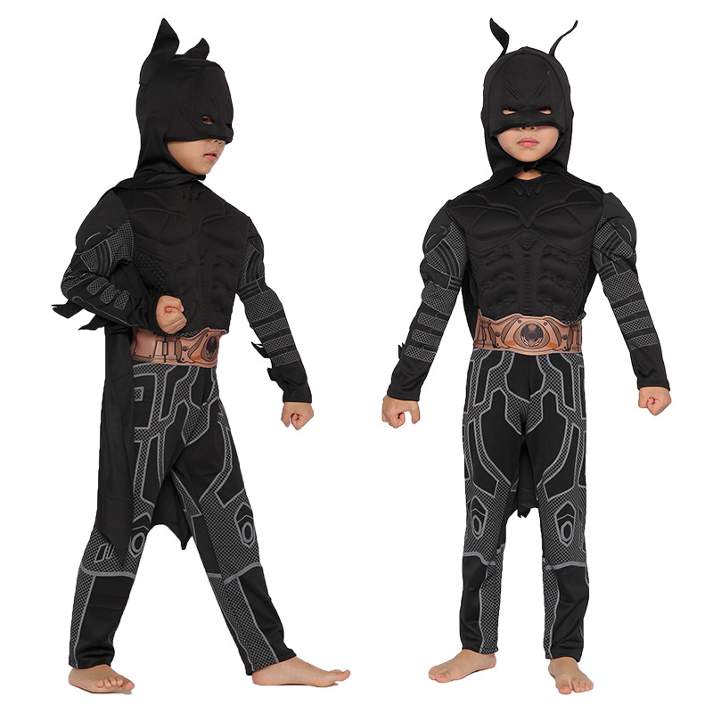 Ainiel Batman Kid Anime Cosplay Costume Black Fancy High Quality Clothing Costumes Halloween Party Carnival For Boys