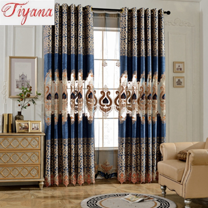 Navy Blue High Grade Chenille Jacquard Hollow Velvet Embroidery Window  Curtains For Living Room Luxurious